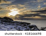 Stock photo sunset on lofoten islands coastline near henningsvaer nordland norway 418166698