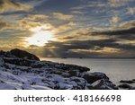 Stock photo sunset on lofoten islands coastline near henningsvaer nordland norway 418166698