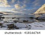 rorvik beach near henningsvaer... | Shutterstock . vector #418166764