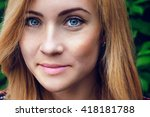 portrait of nice young woman ... | Shutterstock . vector #418181788