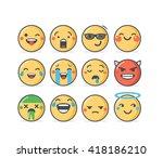 set of vector emoticons in line ... | Shutterstock .eps vector #418186210