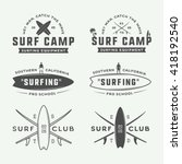 Set Of Vintage Surfing Logos ...