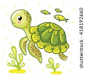 Cute  Cartoon Turtle Isolated....
