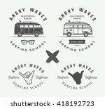 set of vintage surfing logos ... | Shutterstock .eps vector #418192723
