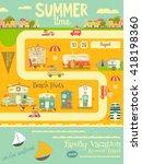 summer card. beach huts ... | Shutterstock .eps vector #418198360