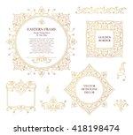 vector set of line art frames... | Shutterstock .eps vector #418198474