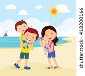 family at the beach. family... | Shutterstock .eps vector #418200166