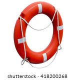 round red and white lifebuoy.... | Shutterstock . vector #418200268