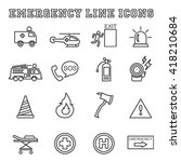 emergency line icons  mono