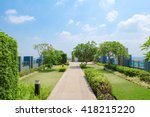 Rooftop garden. Outdoor garden on rooftop, soft focus. Environmental friendly and eco-friendly concept.  - stock photo