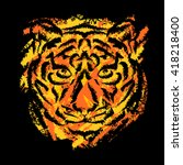 stylized tiger's muzzle on... | Shutterstock .eps vector #418218400