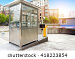 tollbooth in underground car... | Shutterstock . vector #418223854