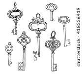 set of vintage keys.handmade... | Shutterstock .eps vector #418226419
