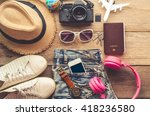 travel accessories for trip | Shutterstock . vector #418236580
