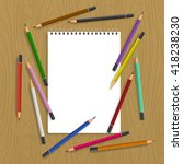 background with color pencils.... | Shutterstock .eps vector #418238230