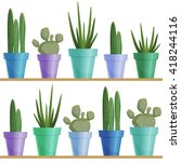 seamless pattern with cactus... | Shutterstock . vector #418244116