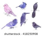 a set of six drawings birds.... | Shutterstock . vector #418250908