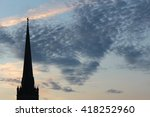 church tower silhouette in...   Shutterstock . vector #418252960