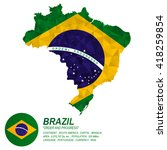 brazilian flag overlay on... | Shutterstock .eps vector #418259854