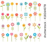 set of colorful flowers. raster ... | Shutterstock . vector #418264078
