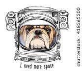 bulldog portrait in a astronaut'... | Shutterstock .eps vector #418265200
