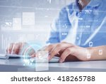 man surfing the internet  | Shutterstock . vector #418265788