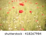 bright red poppies growing wild ... | Shutterstock . vector #418267984