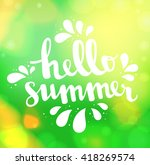 Hello Summer Card. Calligraphy...