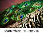 peacock green and blue plumage... | Shutterstock . vector #418285948