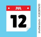 calendar icon flat july 12