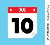 calendar icon flat july 10