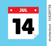 calendar icon flat july 14 | Shutterstock .eps vector #418289758
