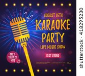 karaoke party banner with... | Shutterstock .eps vector #418295230