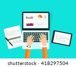 graph analytic  in tablet... | Shutterstock .eps vector #418297504
