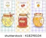 cute set of jars with lemon ...   Shutterstock .eps vector #418298104