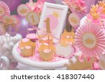 a candy buffet with a wide... | Shutterstock . vector #418307440