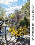 amsterdam street scene.... | Shutterstock . vector #418310734