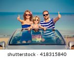 happy family travel by car to... | Shutterstock . vector #418315840
