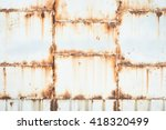 rusty on white iron gates plate ... | Shutterstock . vector #418320499