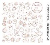 vector set of hand drawn fruit... | Shutterstock .eps vector #418326610
