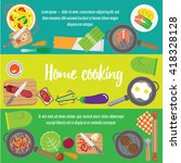 banners about food. preparing...   Shutterstock .eps vector #418328128