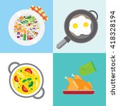 banners about food. preparing... | Shutterstock .eps vector #418328194