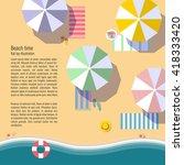 summertime flat lay background... | Shutterstock .eps vector #418333420