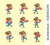 cartoon character dog doing... | Shutterstock .eps vector #418342144