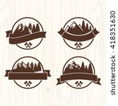 summer camp badges logos and... | Shutterstock .eps vector #418351630