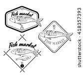 hand dravn.set of vintage fish... | Shutterstock .eps vector #418357393