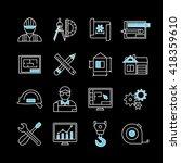 blueprint white blue linear... | Shutterstock .eps vector #418359610
