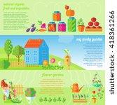three horizontal garden banner... | Shutterstock .eps vector #418361266