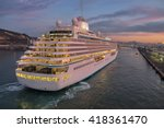 cruise liner at the port of... | Shutterstock . vector #418361470