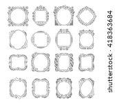 vector set of ornate frames in  ... | Shutterstock .eps vector #418363684